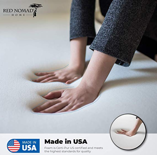 Red Nomad Mattress Topper - Ultimate Memory Foam Topper with Velour Cover